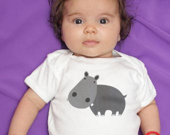 Hippo baby bodysuit romper one piece for baby boy or baby girl, long or short sleeve