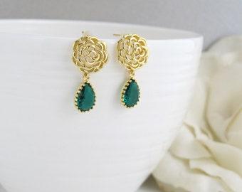 Romantic Gold Rose with Emerald Green Glass Teardrop Ear Post. Modern Everyday Wear. Bridal Wedding Jewelry, Bridesmaid Gift