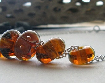 Lampwork boro glass bead necklace. Apricot & honey. Warm colors on quality sterling silver rolo chain. Handmade clasp. Choose length sunrise