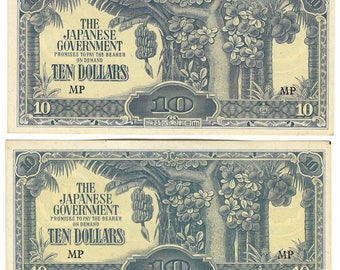 2 WW2 Japanese Invasion Banknotes. Occupation Of Malaya 1942. Two 10 Dollar Banknotes