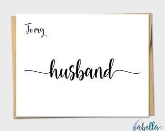 To My Husband Calligraphy Vintage Wedding Day Card Handmade Wedding Card