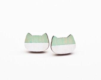 Mint Studs Earring, Cat Lover Gift, Cat Earrings, Geometric Earrings, Girlfriend Gift, Valentines Day Gift, Minimalist Jewelry, Mint Earring