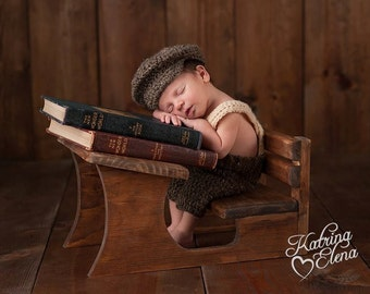 Little Man Suit in Brown Fleck with Beige Suspender and Bowtie/Newborn Shorts with Suspenders/Crochet Newborn Prop
