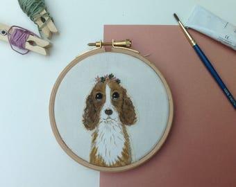 SALE Springer spaniel art - spaniel hoop art - dog lover gift - spaniel gift