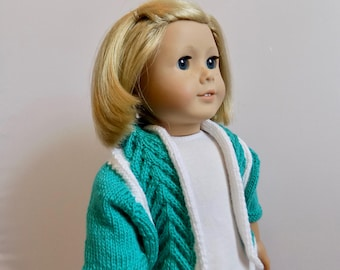 18 Inch Doll Sweater, Knit Doll Sweater, Green Knit Doll Cardigan. 18 Inch Doll Clothes, Knit Doll Outfit, AG Doll Clothes, Green and White