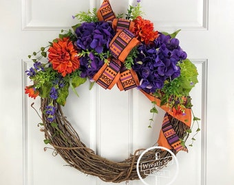 Year Round Wreath, Everyday Wreath, Purple Wreath, Orange Wreath, Wreath Street Floral, Wreath, Grapevine Wreath, Front Door Wreath