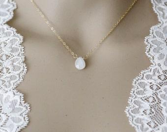 14K Gold-Filled Rainbow Moonstone Gemstone Drop Necklace