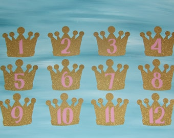 Pink and Gold Princess Crown Monthly