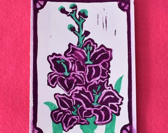 Purple gladiola - 5 all occasion note cards