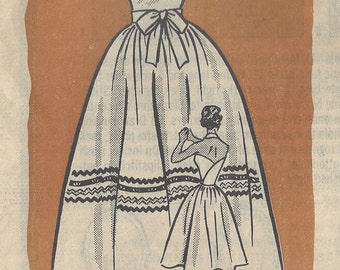 1950s Vintage Sewing Pattern B34 WRAP-AROUND-DRESS (R846) By Marian Martin Printed Pattern 9048