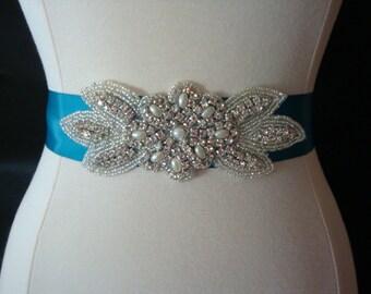 Bridal Sash - Wedding Dress Sash Belt - Pearl and Rhinestone Ivory Sash - Deep Turquoise Teal Rhinestone Bridal Sash