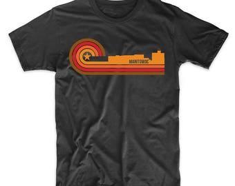 Retro Style Manitowoc Wisconsin Skyline T-Shirt