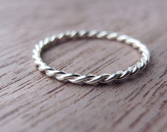 Sterling Silver Twist Ring, Skinny Stacking Ring, Thumb Ring