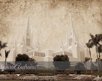 San Diego LDS Temple Landscape Antique - Instant DIGITAL DOWNLOAD - Large Temple Print