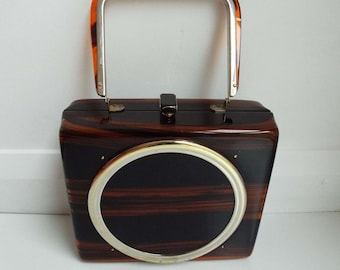 Rare Vintage 1950's Tyrolean Lucite & Brass Handbag Purse Mid Century Rockabilly Glamour Evening Bag Box Handbag