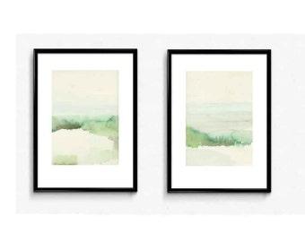 Landscape Print, Set of 2 Watercolor Paintings Landscape Netherlands, Abstract landscape painting   set of 2 watercolor Prints