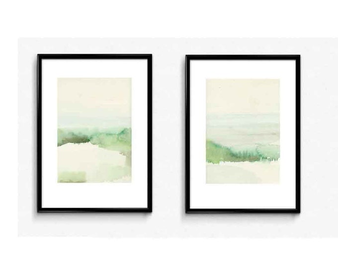 Featured listing image: Landscape Print, Set of 2 Watercolor Paintings Landscape Netherlands, Abstract landscape painting | set of 2 watercolor Prints