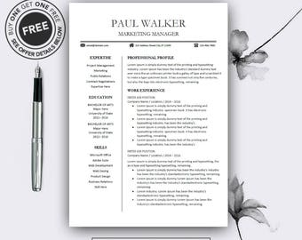 Teacher Resume Template, CV Template For MS Word, Professional Resume,  Modern Resume Design, Resume Instant Download, Buy One Get One Free