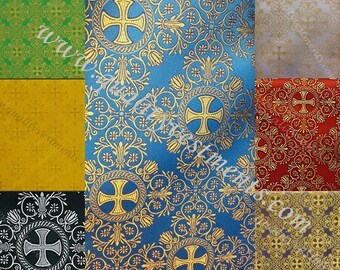 "Liturgical Vestment Brocade Nonmetallic ""Alania "" width is 59'' 150cm gold red Minimum order 5 meters please"