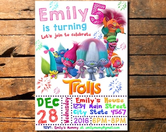 Trolls Birthday Invitation Invite Troll Party With Photo