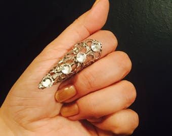 Crystal arrow tip,claw ring,nail guard or Thumb claw Ring,silver color, Swarovski Crystals, 1 pc; adjustable.