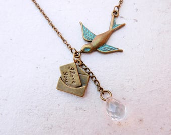 Swallow I love you letter Necklace Hand Painted Patina Charm vintage Necklace Jewelry Bronze Jewelry