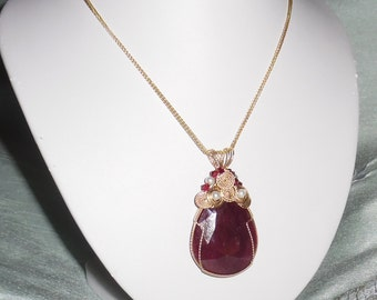 CERTIFIED 128ct Natural Earth Mined Pear cut Red Ruby gemstone, 14kt yellow gold Pendant & Chain