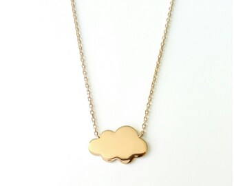 Necklace gold plated cloud 750/00 - small necklace cloud necklace gold 750/000 - little cloud neklace, 750 yellow gold plated