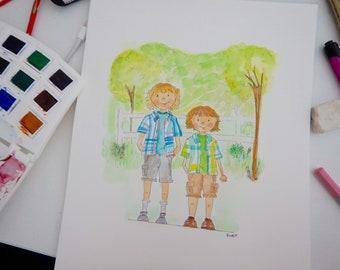 8 x 10- Custom Full Body Portrait illustration,Family Illustrations, Couples Illustrations, Family Portraits, Watercolor Portraits