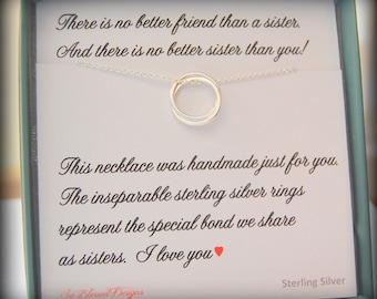 SISTER necklace, sisters card, Maid of honor, Sister gift, birthday gift, Sterling Silver, Sisters, Matron of Honor