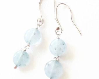 Aquamarine  925 Silver Drop Dangle Earrings