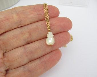 Hawaiian Jewelry Vintage Pineapple Charm Pendant Necklace Resort Wear, Dainty Hawaii Chain, Teen Tween Gift for Bear Lover