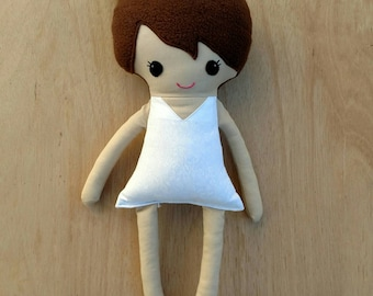 Dress up doll, dress up fabric doll, rag doll, brown hair plush doll, brunette hair base doll, soft dress up doll, hair bun