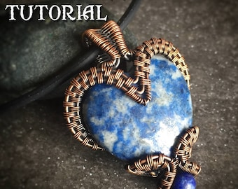 TUTORIAL - Bottled Heart Pendant - Wire Wrapping - Jewelry Pattern - Puffy Heart Cabochon Wire Wrapped Gemstone Lesson - Wire Wrap Stone