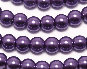 Set of 30 8mm Lavender Czech glass pearl beads