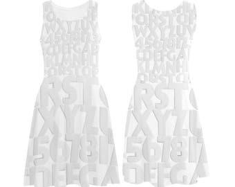 Vintage Deco Alphabet Dress - printed photographic white deco letters tank dress - USA XS-3XL