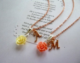 Personalized Flower Girl Necklace, Rose Gold Bridesmaid Necklace, Personalized Bridesmaid Jewelry, Rose Gold Flower Girl Jewelry