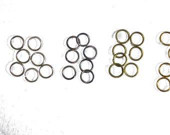 Set of 100 rings metal 6 colors available 6 mm diameter