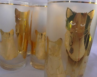 Gold Cat Tall Tumbler, Culver Frosted, 1950s