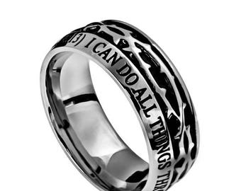 """Crown Of Thorns Ring """"Christ My Strength"""""""