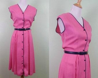 1950s Bubble Gum Pink Cotton Lined Dress- Large