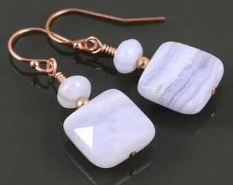 Blue Lace Agate Earrings. Rose Gold Filled Ear Wires. Genuine Gemstones. Small Drop Earrings. f17e071