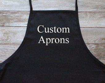 Personalized Apron w/Pockets, Embroidered, Custom Apron, 2-3 Line Text, Small/Medium Size ***Choose your text color!