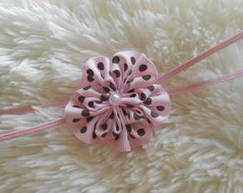 Pink  with  polka dots  flower Headband, Choose your color,Newborn Headband,  Infant Headband, Headband Baby, Baby Headband