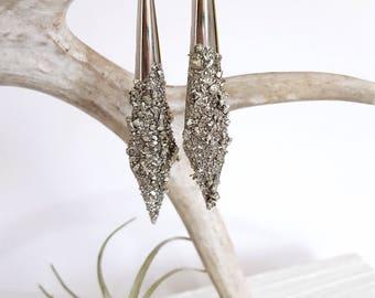 Silver Earrings Statement Earrings Dagger Earrings Christmas Gift Pyrite Special Occasion Jewelry Sparkly Earrings Teardrop Earrings