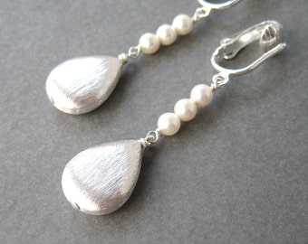 Silver And Pearl Clip-on Earrings, Brushed Silver Teardrop Dangle Clip Earrings White Pearl Stack, For Non Pierced Ears, Modern, Shine Pearl