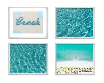 Beach Art Print Set, beach art prints set of 4, Beach Decor set, Ocean art print set, Summer Art Print, Coastal Art Print Set, Gallery Wall