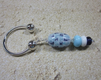 Key Ring, Silver, Glass Beaded, Artisan Lampwork Glass, Hand Crafted, Unique, Custom, OOAK, SRAJD