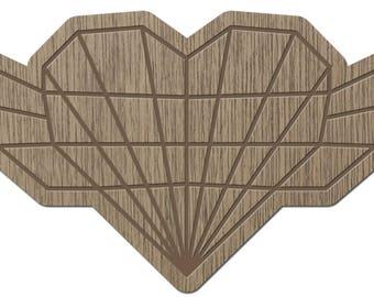 HEART - ORIGAMI - laser cut wood - magnet