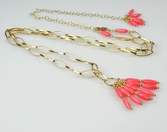 Pink Coral and Gold Adjustable Long Necklace Removable Coral Charm